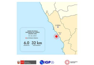 IGP: sismo y réplicas en Cañete tienen origen en la fricción de placas de Nazca y Sudamericana