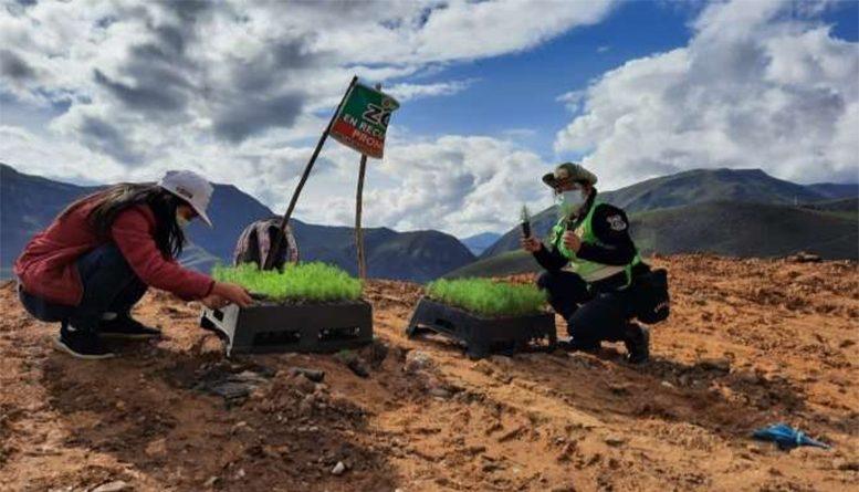 Policía realiza importante labor de reforestación para conservación del medio ambiente
